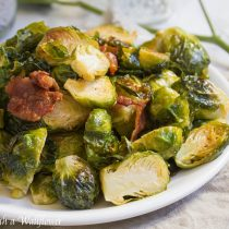 Roasted Garlic Brussels Sprouts with Bacon   Cooking with a Wallflower