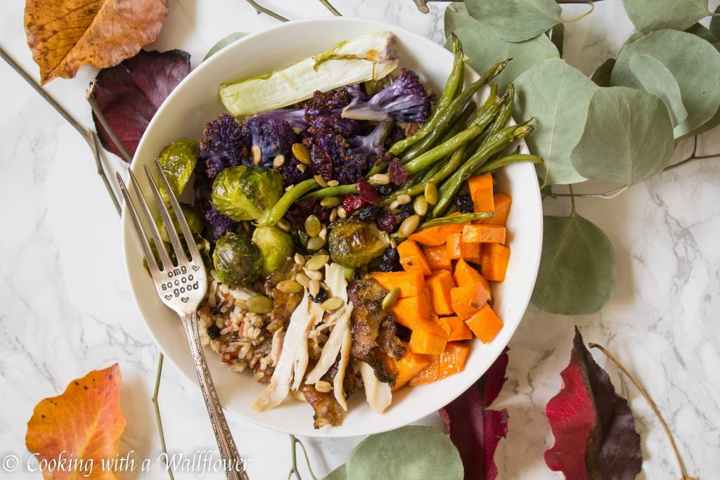Roasted Leftover Turkey Vegetable Grain Bowl with Maple Balsamic Vinaigrette | Cooking with a Wallflower