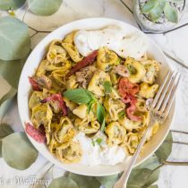 Bacon Mushroom Pesto Tortellini with Burrata | Cooking with a Wallflower