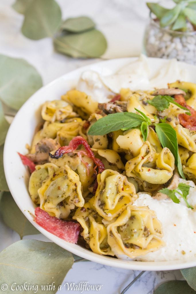 Bacon Mushroom Pesto Tortellini with Burrata | Cooking with a Wallflower