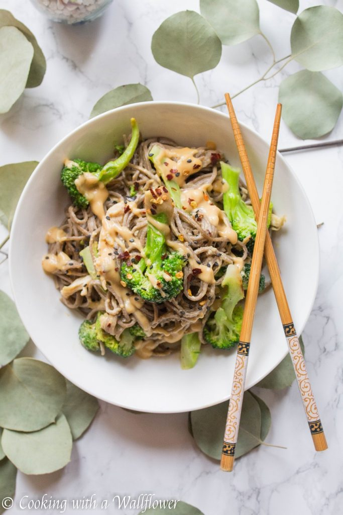 Chicken Broccoli Soba Noodle with Peanut Sauce | Cooking with a Wallflower