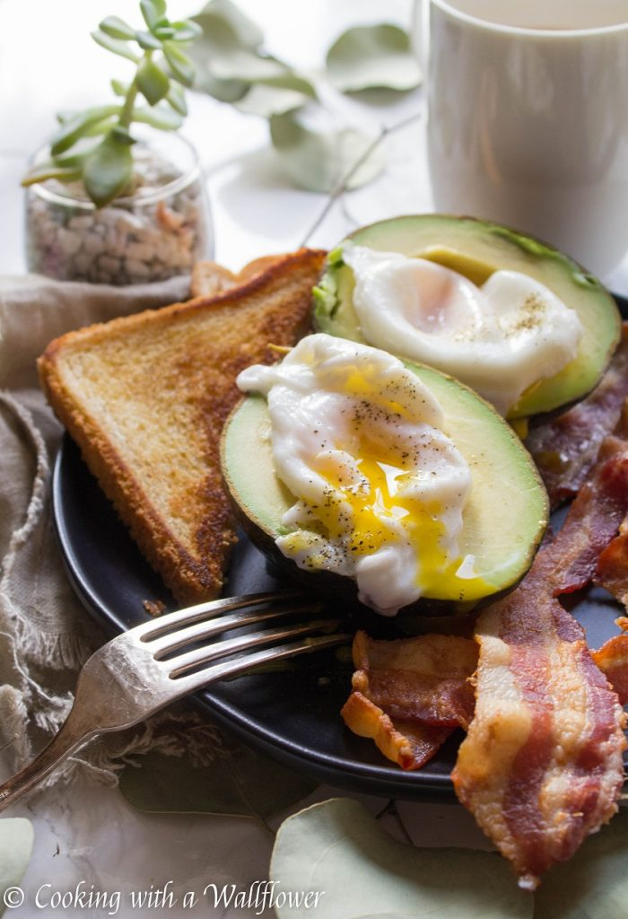 Poached Eggs in Avocado with Bacon and Buttered Toast | Cooking with a Wallflower