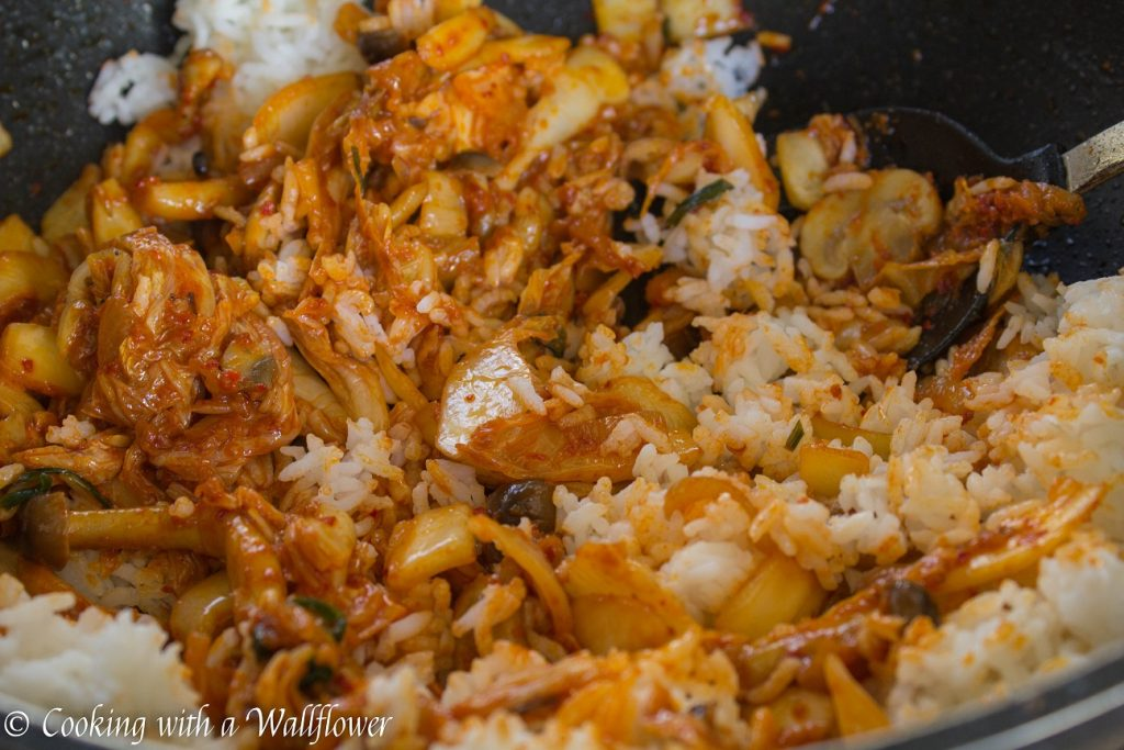 Mushroom Kimchi Fried Rice | Cooking with a Wallflower