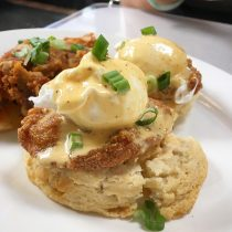 Fried Chicken Benedict over Cream Biscuits