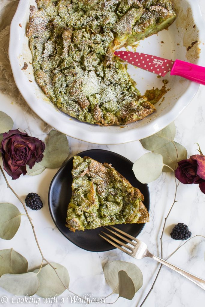 Matcha Green Tea Croissant French Toast Bake | Cooking with a Wallflower