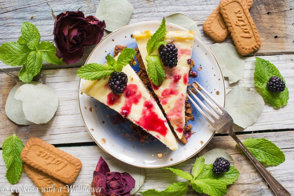 Blackberry Glazed Vanilla Cheesecake with Biscoff Crust | Cooking with a Wallflower