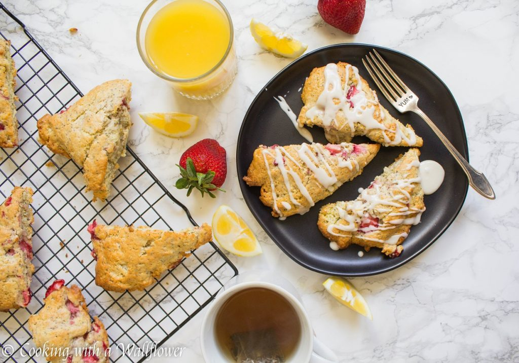 Strawberry Lemon Poppy Seed Scones | Cooking with a Wallflower