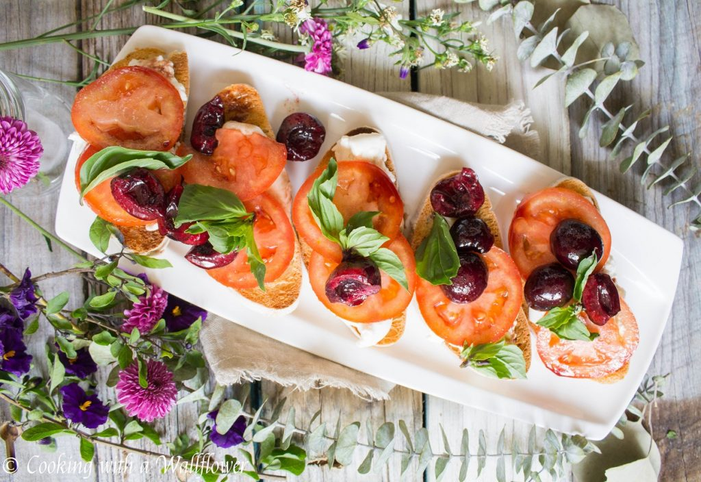 Cherry Caprese Crostini | Cooking with a Wallflower