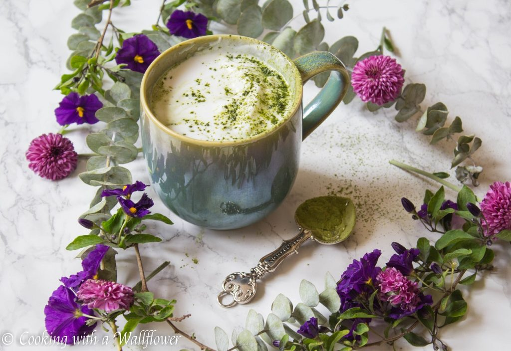 Matcha Ginger Latte with Vanilla Coconut Whipped Cream | Cooking with a Wallflower