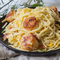 Pan Seared Scallops Pasta Carbonara | Cooking with a Wallflower