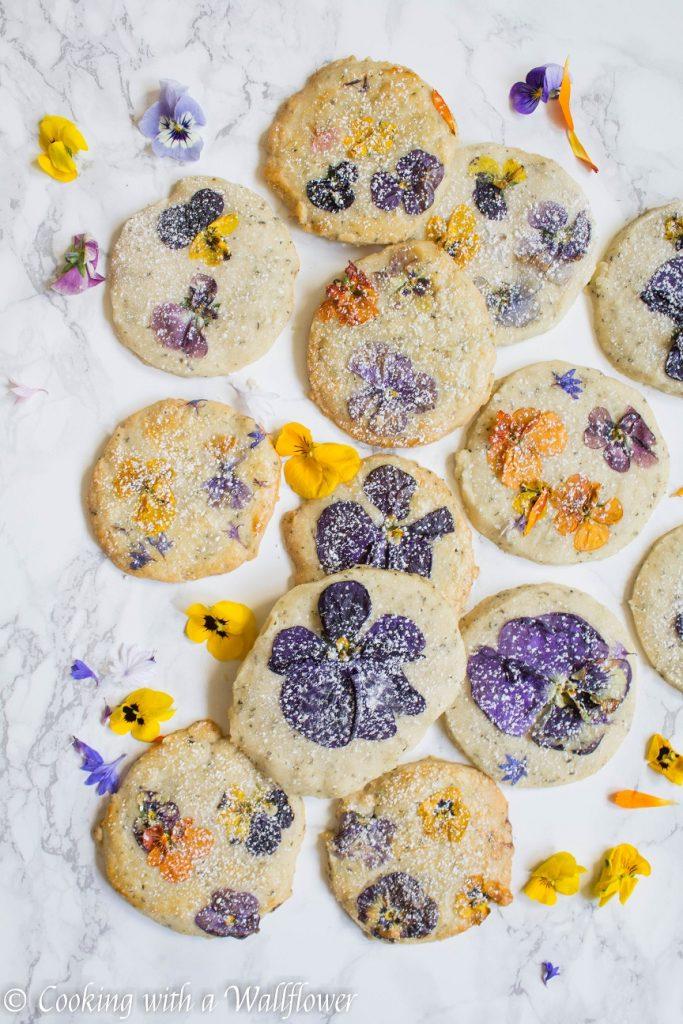 Flower Pressed Jasmine Tea Shortbread Cookies   Cooking with a Wallflower