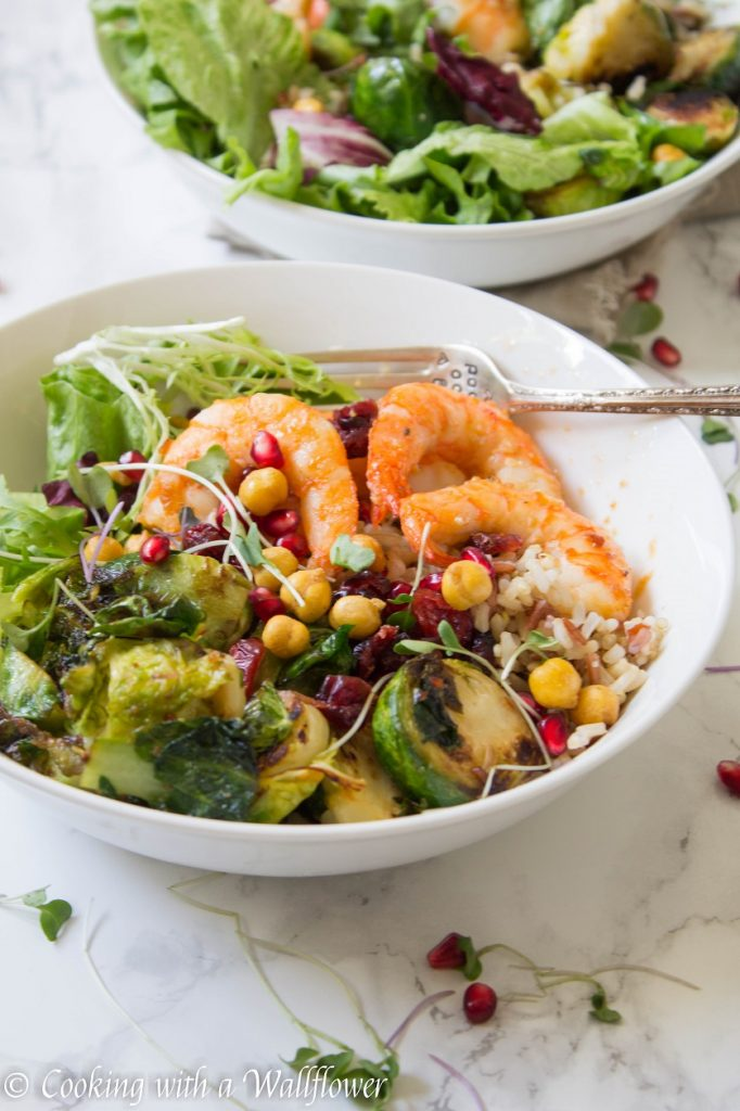Garlic Shrimp and Crispy Brussels Sprouts Grain Bowl | Cooking with a Wallflower