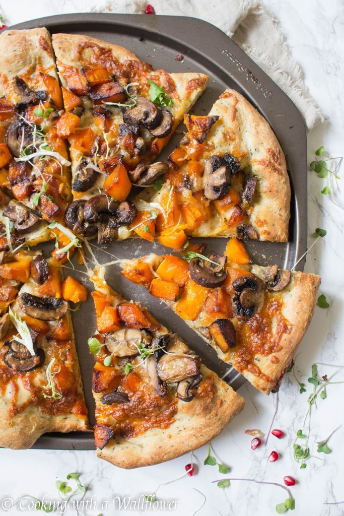 Roasted Maple Butternut Squash and Garlic Mushroom Pizza | Cooking with a Wallflower