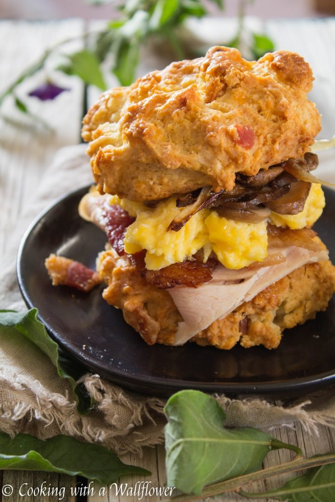Leftover Turkey Bacon Egg Breakfast Biscuit Sandwiches | Cooking with a Wallflower