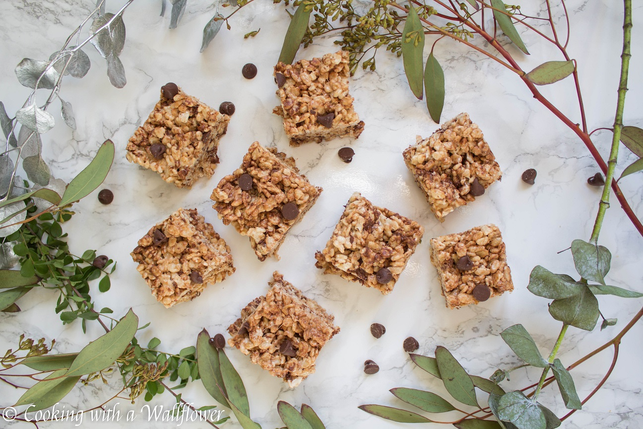 Chocolate Chip Toffee Rice Crispy Treats Cooking With A Wallflower