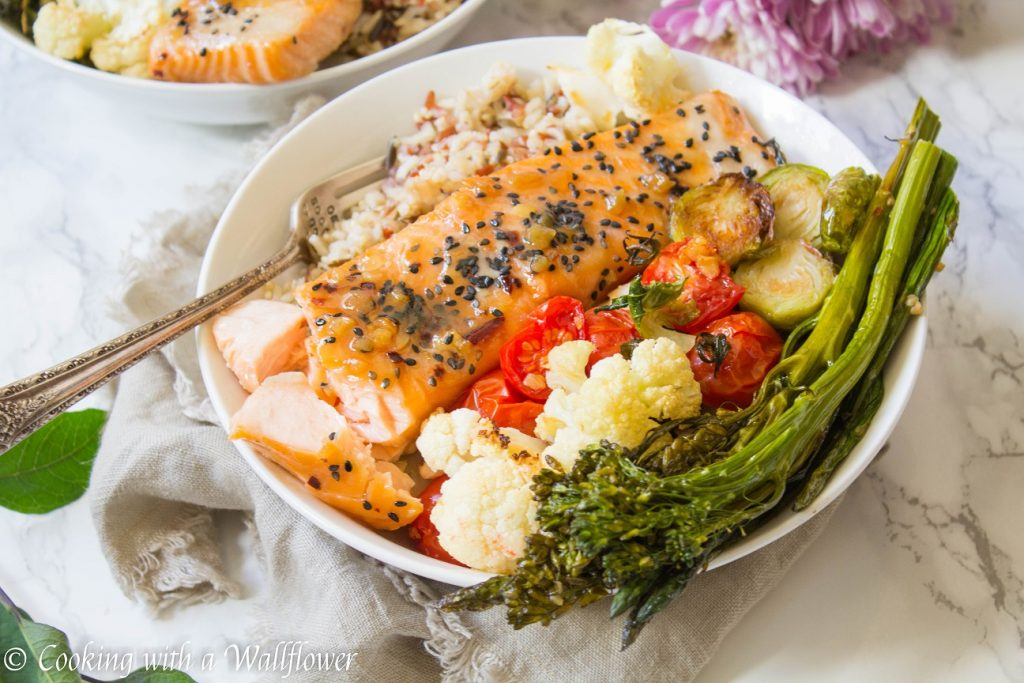 Maple Garlic Soy Salmon Grain Bowls | Cooking with a Wallflower