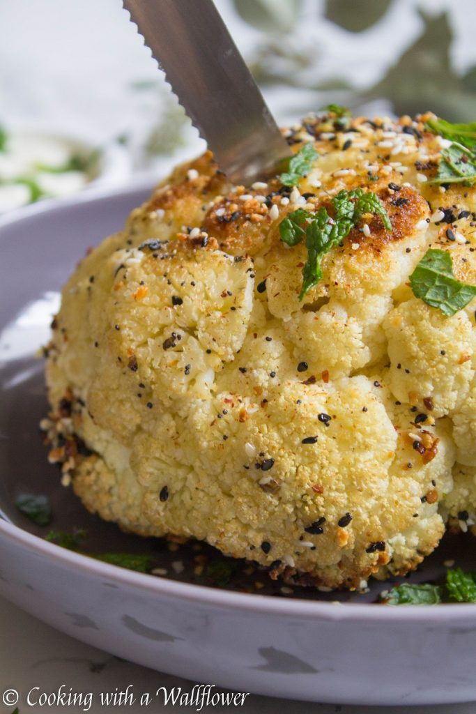Everything Spiced Whole Roasted Cauliflower | Cooking with a Wallflower