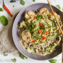 Shrimp Coconut Green Curry Soba Noodle Bowl | Cooking with a Wallflower