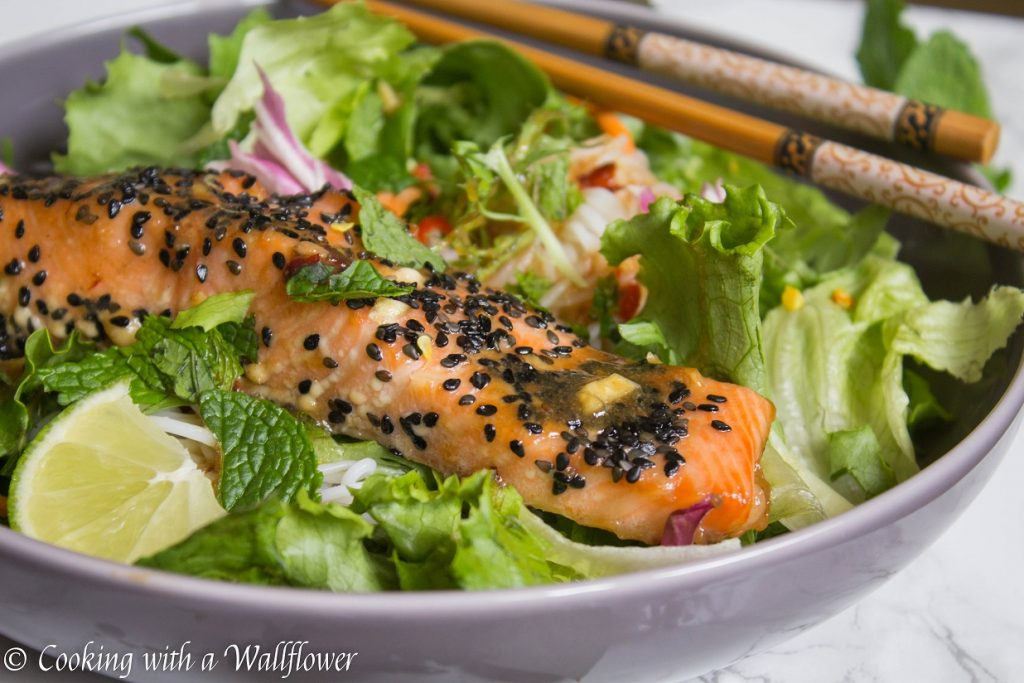 Maple Tamarind Salmon Spring Roll Bowls | Cooking with a Wallflower