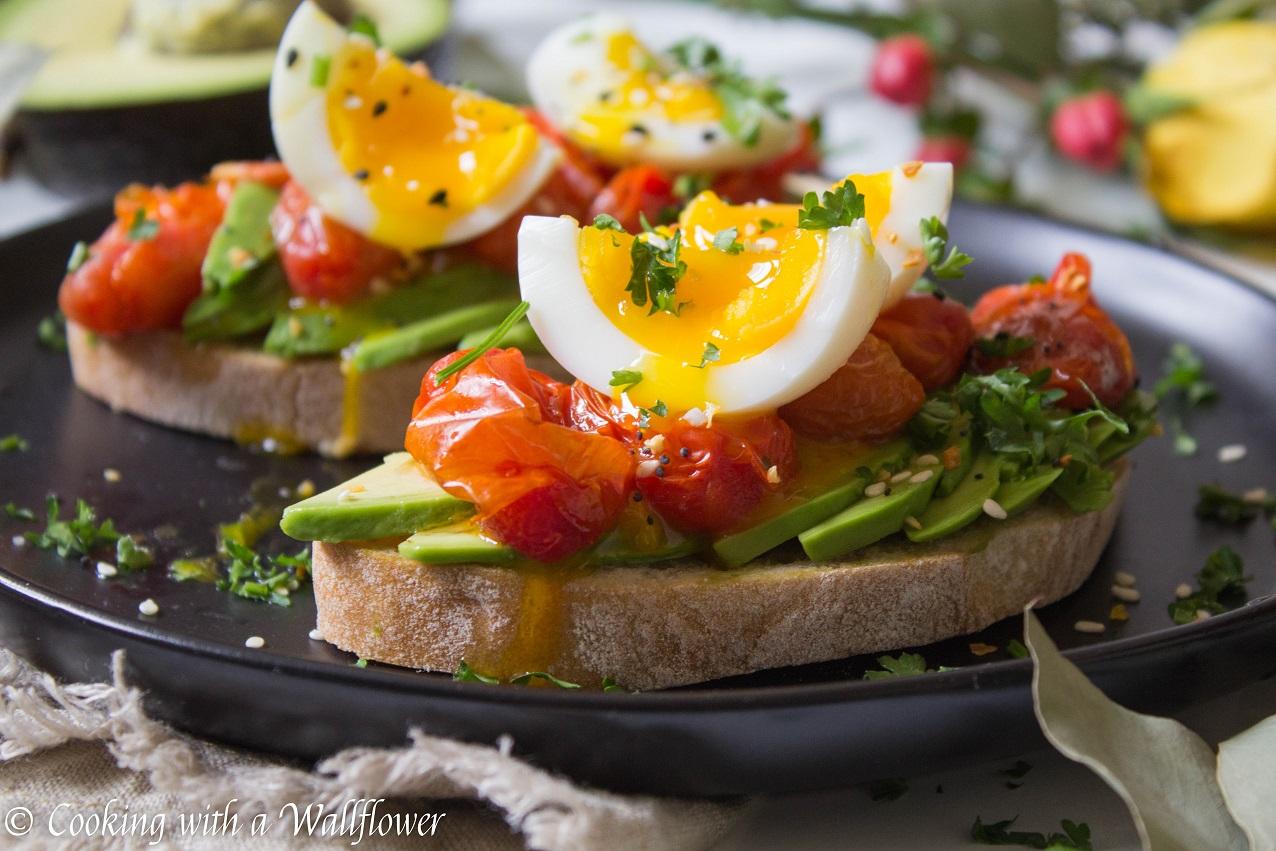 Roasted Tomato Jammy Egg Avocado Toast