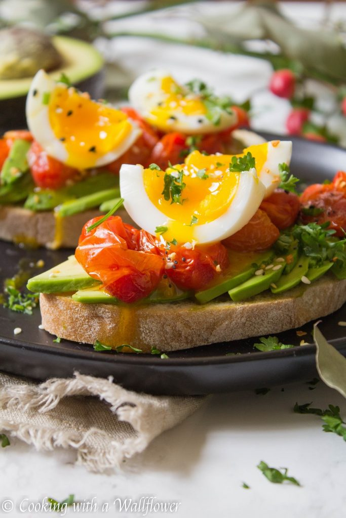 Roasted Tomato Jammy Egg Avocado Toast | Cooking with a Wallflower