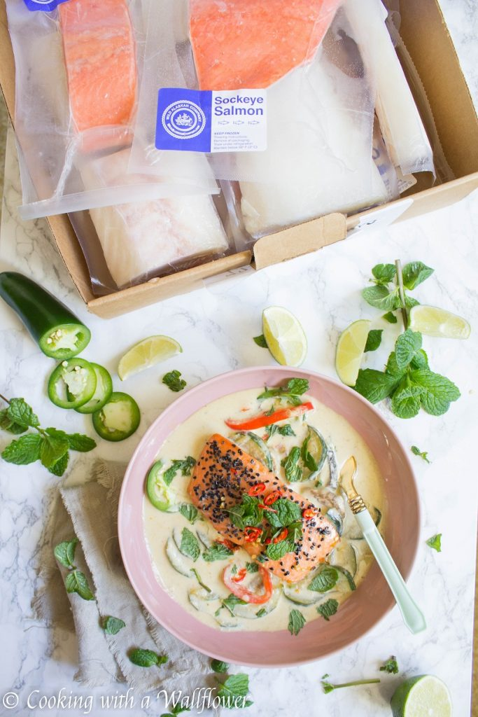 Baked Salmon Green Curry Bowl | Cooking with a Wallflower