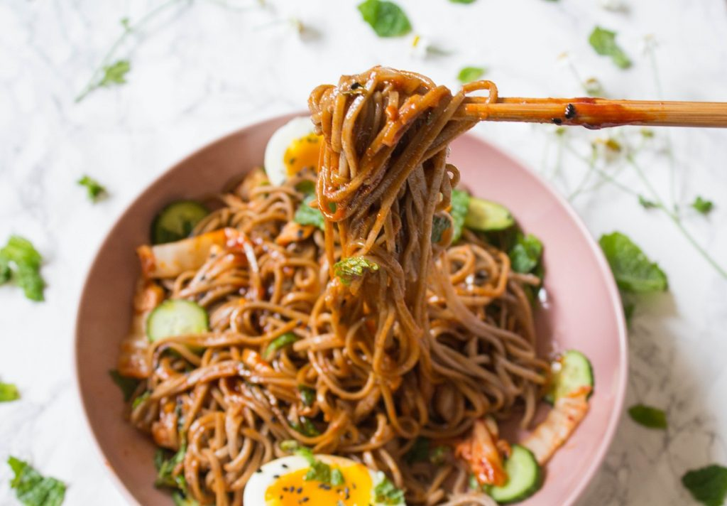 Korean Style Kimchi Soba Noodles | Cooking with a Wallflower