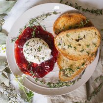 Fresh Thyme Salt and Pepper Burrata with Strawberry Jam | Cooking with a Wallflower