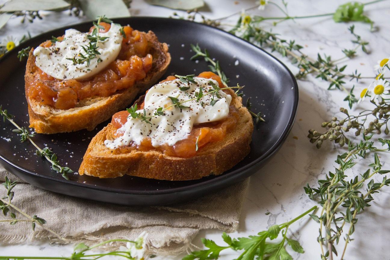 Peach Jam Burrata Toast