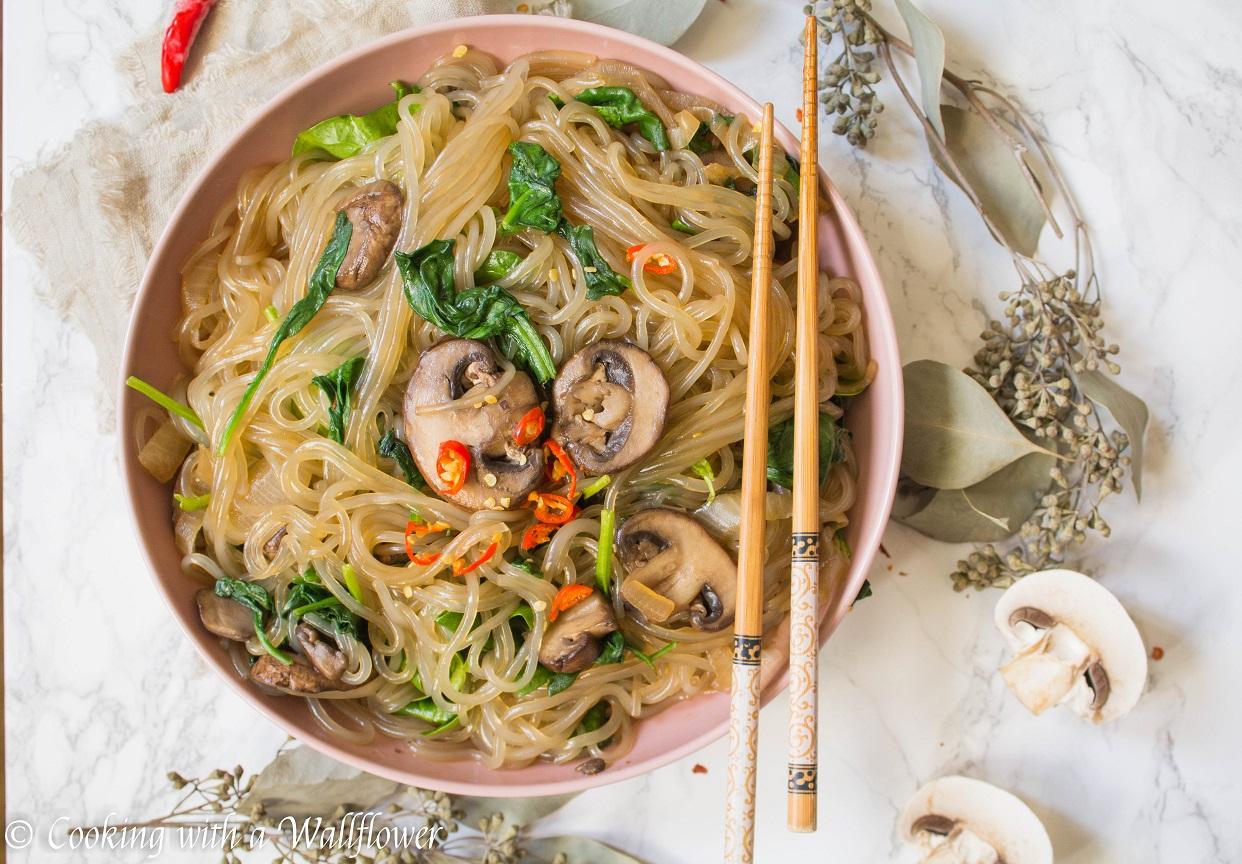 Korean Style Spinach Mushroom Glass Noodles
