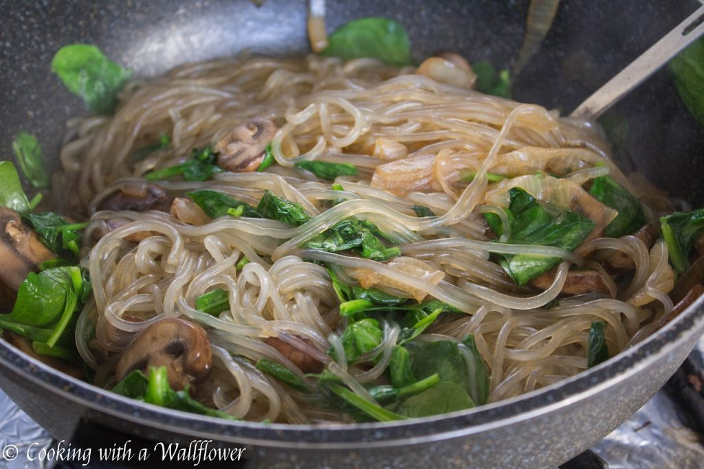 Korean Style Spinach Mushroom Glass Noodles | Cooking with a Wallflower