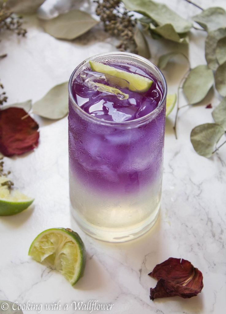 Sparkling Butterfly Pea Flower Tea Lemonade | Cooking with a Wallflower