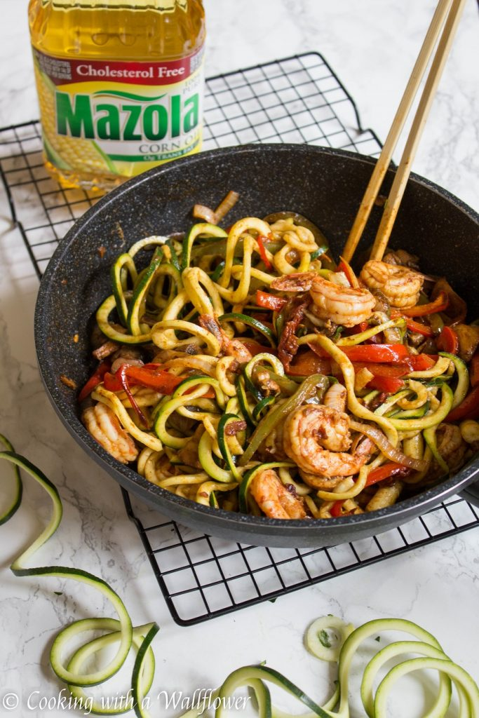 Honey Chipotle Shrimp Zucchini Noodles with Fajita Vegetables | Cooking with a Wallflower