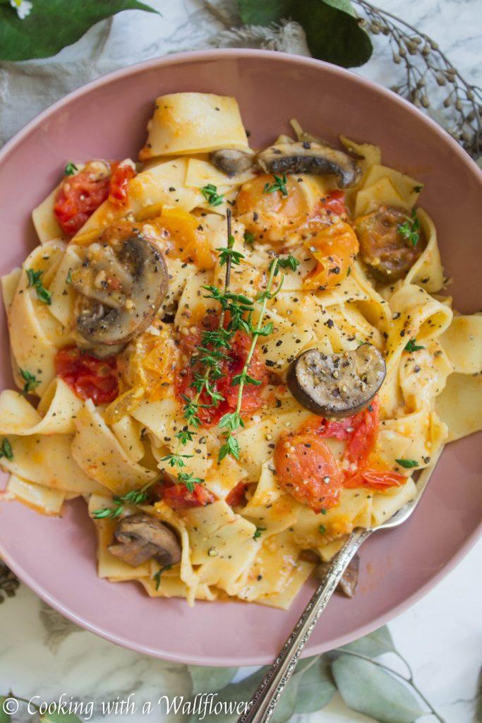 Garlic Mushroom Tomato Confit Pappardelle | Cooking with a Wallflower