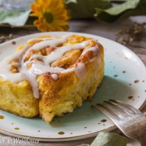Pumpkin Cinnamon Rolls with Maple Cream Cheese Frosting | Cooking with a Wallflower