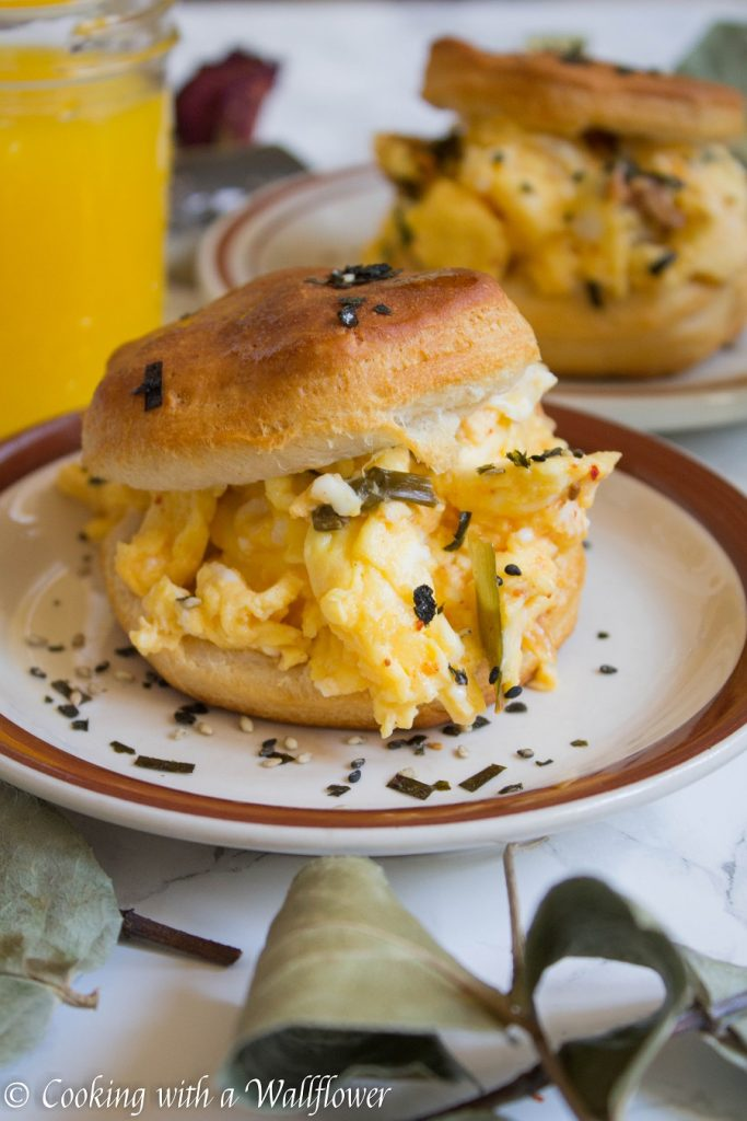 Kimchi Soft Scrambled Egg Biscuit Sandwiches | Cooking with a Wallflower