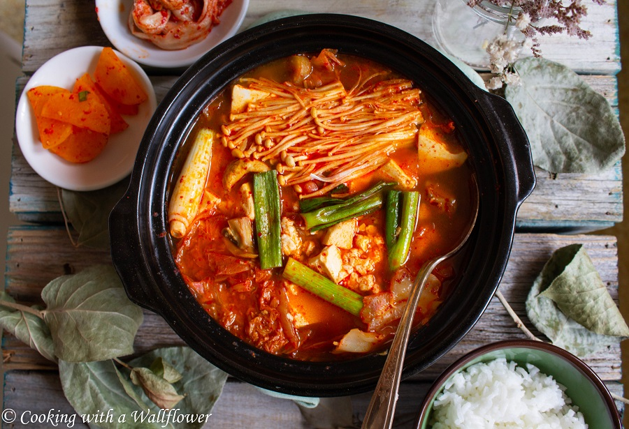 Korean Style Spicy Vegetable Tofu Soup | Cooking with a Wallflower
