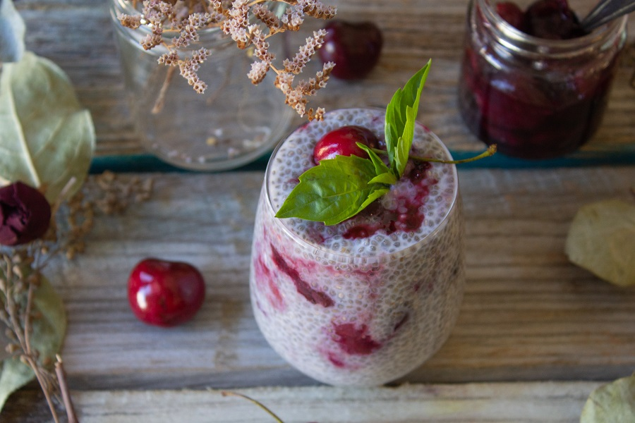 Cherry Overnight Chia Pudding | Cooking with a Wallflower