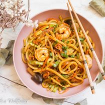 Shrimp Vegetable Yakiudon | Cooking with a Wallflower