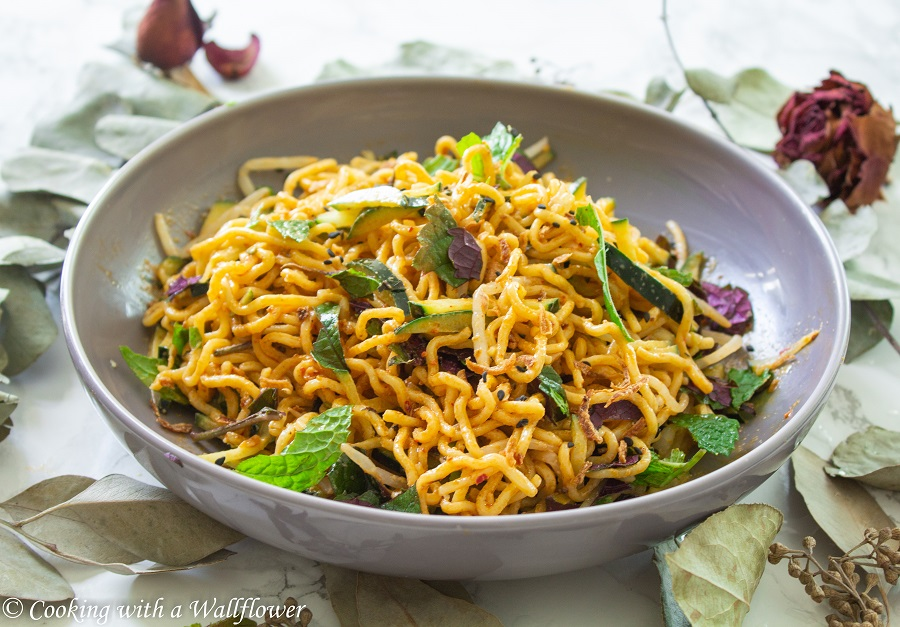 Spicy Cold Sesame Noodles with Cucumbers and Fresh Herbs | Cooking with a Wallflower